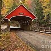 Flume Gorge Covered Bridge Fall Colors Art Print