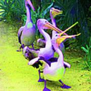 Fluorescent Pelicans Art Print
