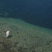 Fly Fishing In Alpine Lake Art Print