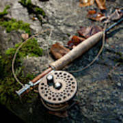 Fly Rod And Reel Detail On Mossy Wet Art Print