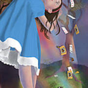 Flying Cards Dissolve Alice's Dream Art Print