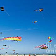 Flying Kites At St Augustine Beach Pier Art Print