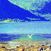 Seagull Flying Low, Mountains Standing Tall  Art Print