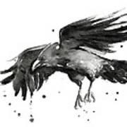Flying Raven Watercolor Art Print