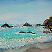 Foamy Ocean Waves And Sandy Shore Art Print