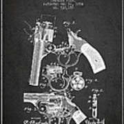 Foehl Revolver Patent Drawing From 1894 - Dark Art Print