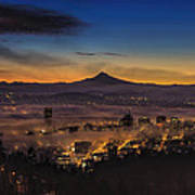 Fog Rolling In At Dawn Over The City Of Portland Art Print
