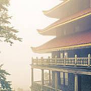 Foggy At The Reading Pagoda Art Print