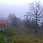 Foggy Cabin And Hillside Art Print