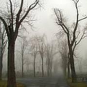 Foggy Cemetery Road Art Print
