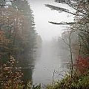 Foggy Fall River Art Print