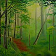 Foggy Forest Path Art Print