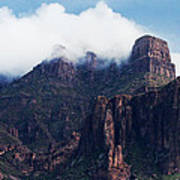 Foggy Superstition Mountains   Art Print
