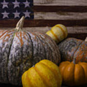 Folk Art Flag And Pumpkins Art Print