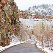 Follow The Red Rock Ridge Winter Road  Art Print