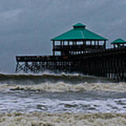 Folly Beach Pier During Sandy Art Print