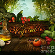 Food Design - Fresh Vegetables In Celery Forest Art Print by Mythja  Photography