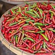 Food Market With Fresh Chili Peppers Art Print