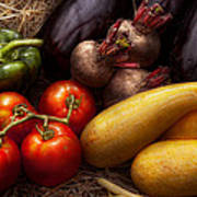 Food - Vegetables - Peppers Tomatoes Squash And Some Turnips Art Print by Mike Savad