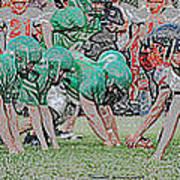 Football Playing Hard 3 Panel Composite Digital Art 01 Art Print