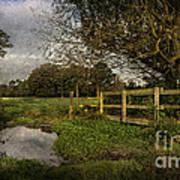Footpath Bridge At Tidmarsh Berkshire Art Print