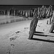 Footprints In The Sand Among The Pilings Art Print