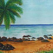 Footprints On Los Pinones Beach Pr Art Print