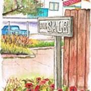 For Sale Sign In Goleta Beach, California Art Print