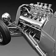 Ford Coupe Hot Rod Engine In Black And White Art Print