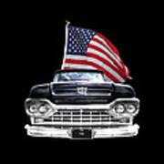 Ford F100 With U.s.flag On Black Art Print