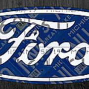 Ford Motor Company Retro Logo License Plate Art Art Print