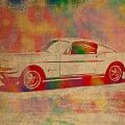 Ford Mustang Watercolor Portrait On Worn Distressed Canvas Art Print