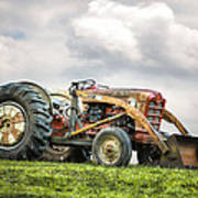 Ford Powermaster Tractor On A Hill Art Print by Gary Heller