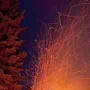 Forest Fire Danger Hot Spark Trails From Campfire Art Print