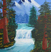 Forest Waterfall Art Print by Haleema Nuredeen