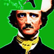 Forevermore - Edgar Allan Poe - Green - With Text Art Print