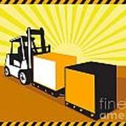 Forklift Truck Materials Handling Retro Art Print