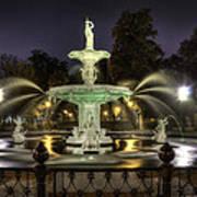 Forsyth Fountain At Night Art Print