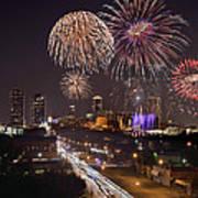 Fort Worth Skyline At Night Fireworks Color Evening Ft. Worth Texas Art Print