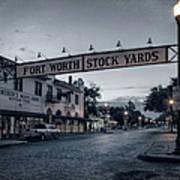Fort Worth Stockyards Bw Art Print