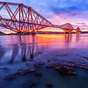 Forth Rail Bridge Stunning Sunrise Art Print