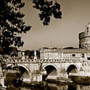 Fortress And Bridge In Sepia Art Print