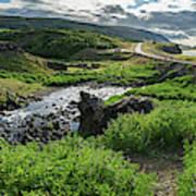 Fossa Waterfall In Hvalfjordur, Iceland Art Print