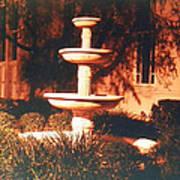 Church Fountain Night Shadows Art Print