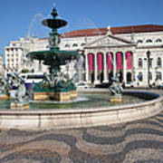 Fountain And Theater On Rossio Square In Lisbon Art Print