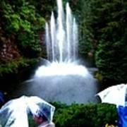 Fountain And Umbrellas Art Print
