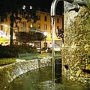 Fountain At Night Art Print
