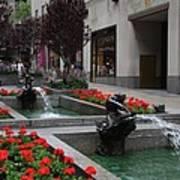 Fountain At Rockefeller Center Nyc Art Print