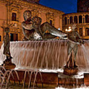 Fountain By Night Art Print