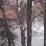 Fountain During Snowfall Art Print
